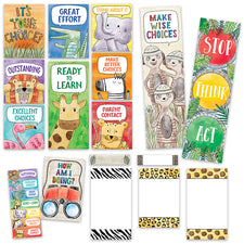 Safari Friends Behavior Clip Chart Mini Bulletin Board Set