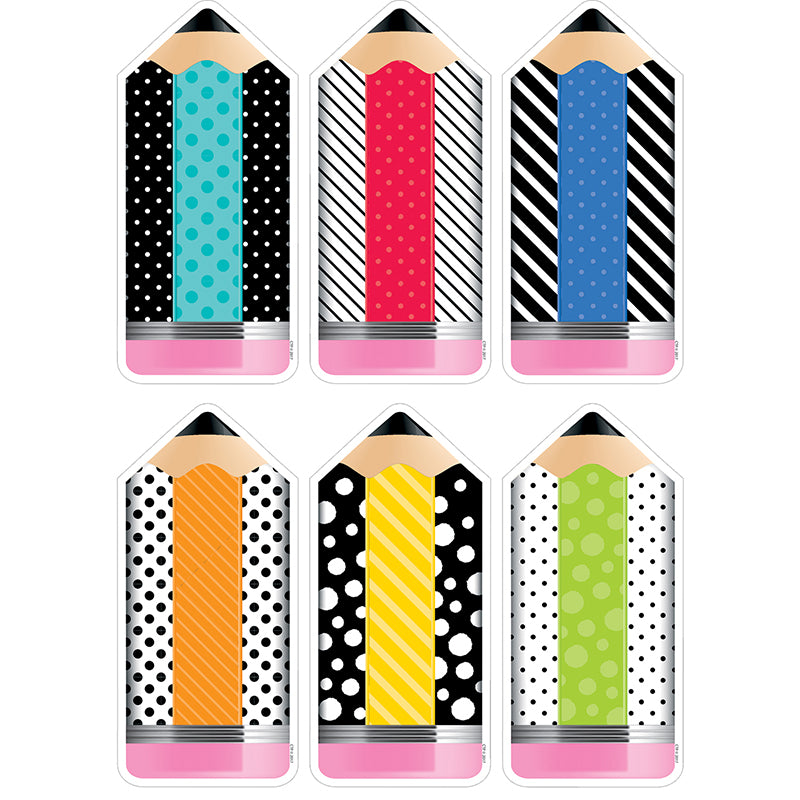 "Bold & Bright Striped & Spotted Pencils 10"" Designer Cut-Outs"