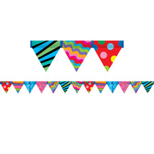 Poppin' Patterns Pennant Bulletin Board Border