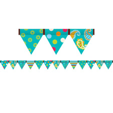 Polka Dots On Turquoise Pennant Bulletin Board Border