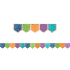 Upcycle Style Patterned Pockets Bulletin Board Border
