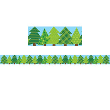 Woodland Friends Patterned Pine Trees Bulletin Board Border