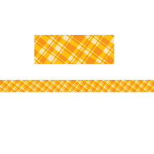 Woodland Friends Golden Plaid Bulletin Board Border