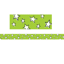 Doodle Stars on Lime Bulletin Board Border