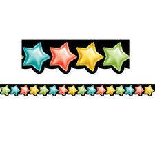 Rainbow Mylar Balloon Stars Bulletin Board Border