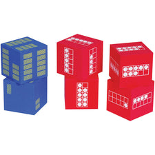 Ten Frame Foam Dice, Set of 6 (4 Red, 2 Blue)