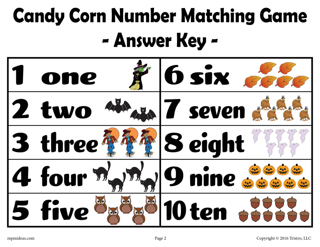 Printable Candy Corn Number Matching Game Answer Key