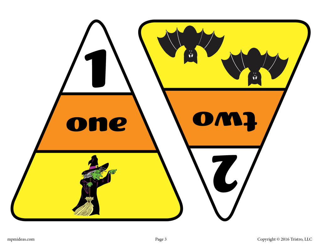 Printable Candy Corn Number Matching Game Numbers 1 and 2