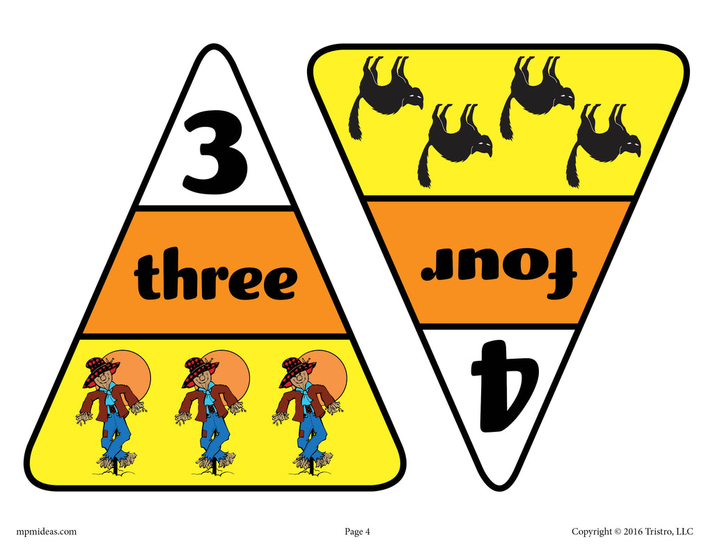 Printable Candy Corn Number Matching Game Numbers 3 and 4