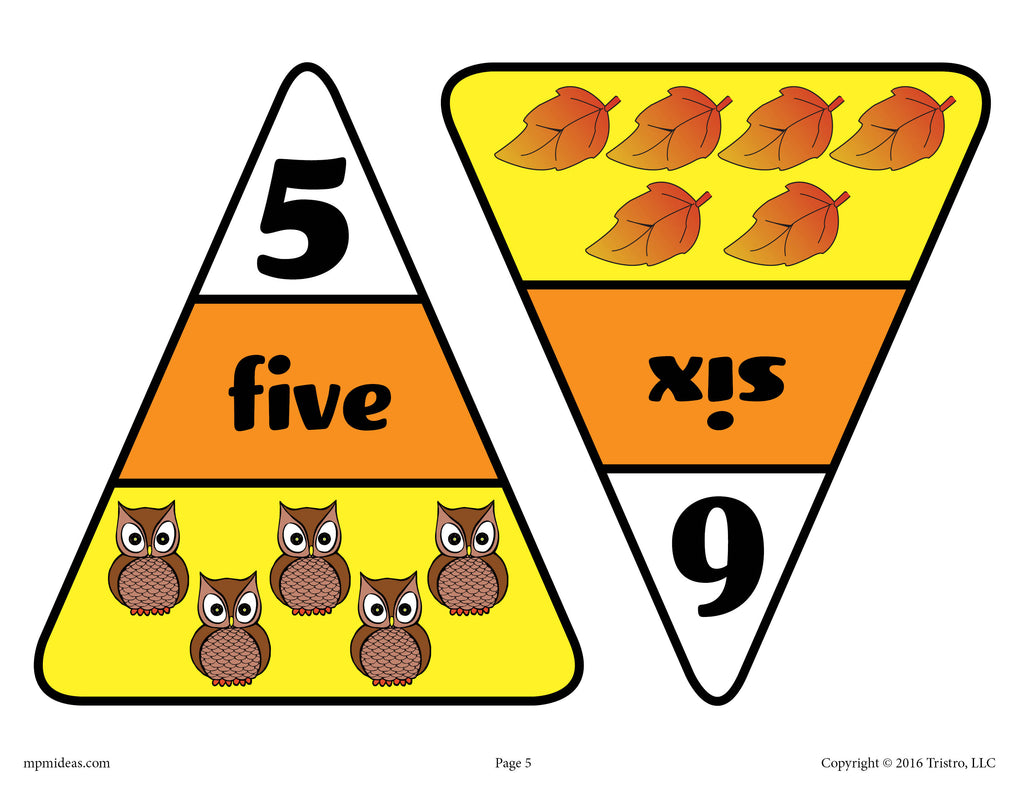 Printable Candy Corn Number Matching Game Numbers 5 and 6