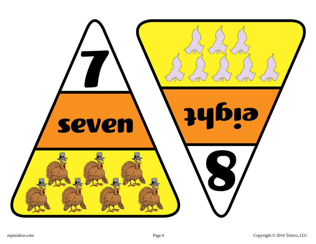 Printable Candy Corn Number Matching Game Numbers 7 & 8