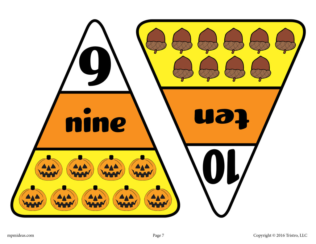 Printable Candy Corn Number Matching Game Numbers 9 & 10