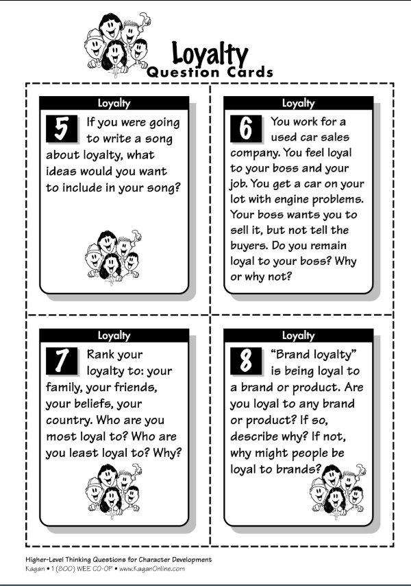 Kagan Publishing Developing Character Higher-Level Thinking Questions