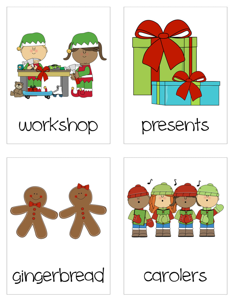 Christmas Vocabulary Word Cards - Workshop, Presents, Gingerbread, Carolers