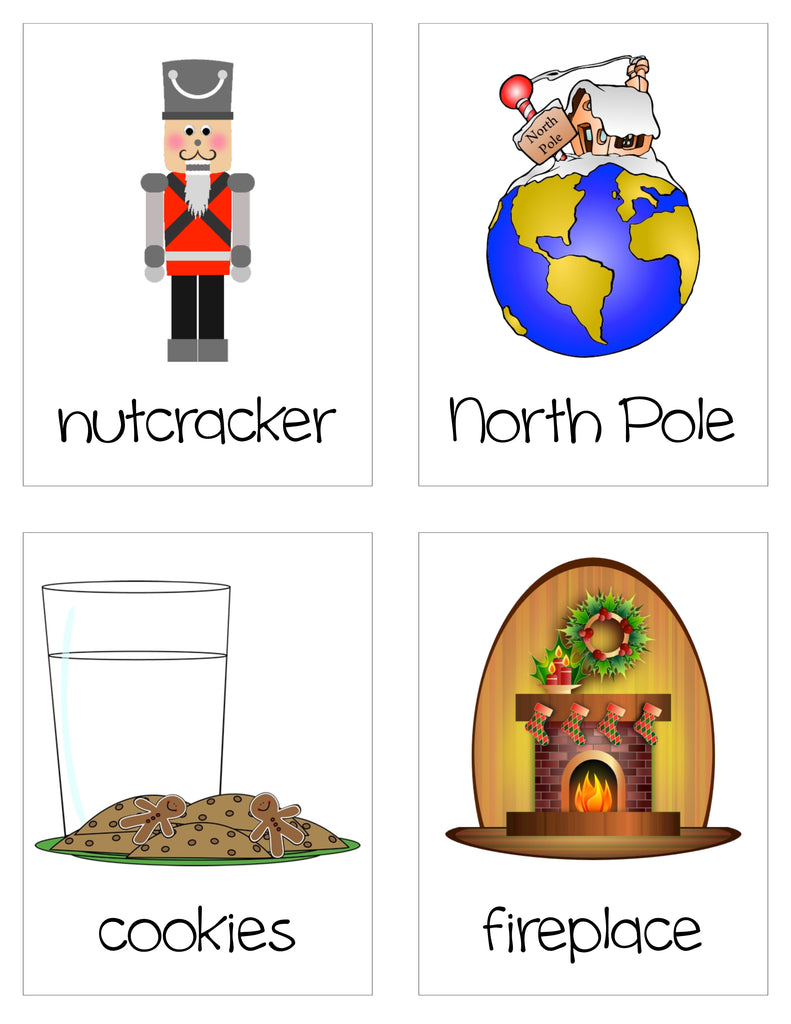 Christmas Vocabulary Word Cards - Nutcracker, North Pole, Cookies, Fireplace