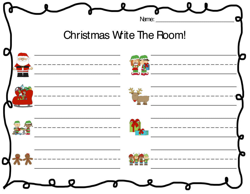 Christmas Write the Room Vocabulary Words Recording Worksheet - Page 1