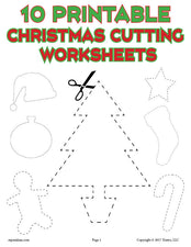 10 Printable Christmas Shapes Cutting Worksheets!