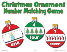 Christmas Ornaments Number Matching Game Numbers 1-10