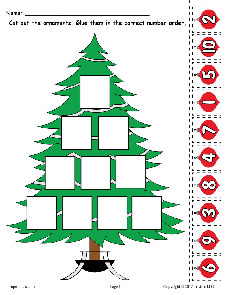 FREE Printable Christmas Tree Ordering Numbers Worksheet Numbers 1 ...