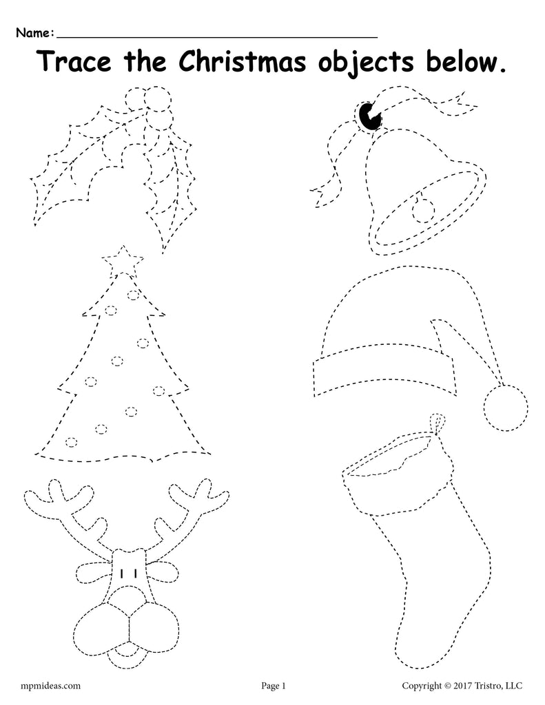 FREE Printable Christmas Tracing Worksheet!