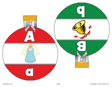 Printable Christmas Ornaments Alphabet Matching Game - Uppercase and Lowercase Letters