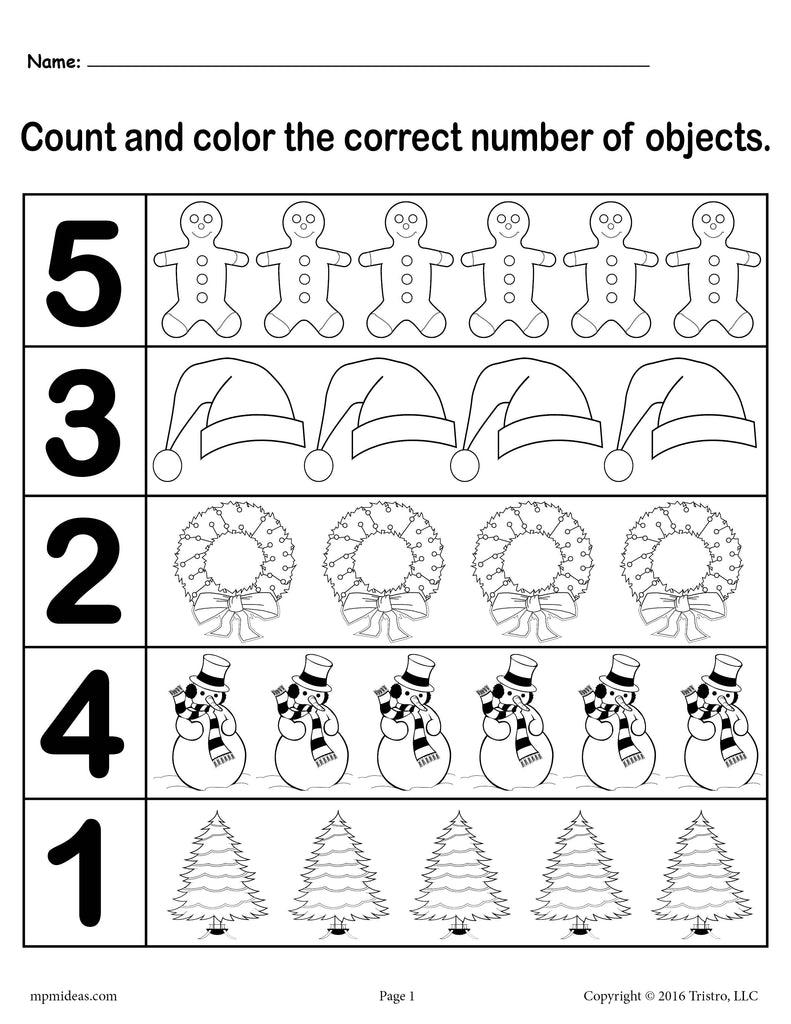 "Christmas Themed ""Count and Color"" Worksheets (3 FREE ..."