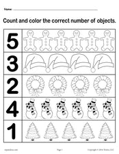 "Christmas Themed ""Count and Color"" Worksheets (3 Printable Versions)!"