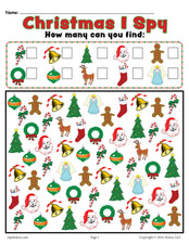 Christmas I Spy - Printable Christmas Counting Worksheet!