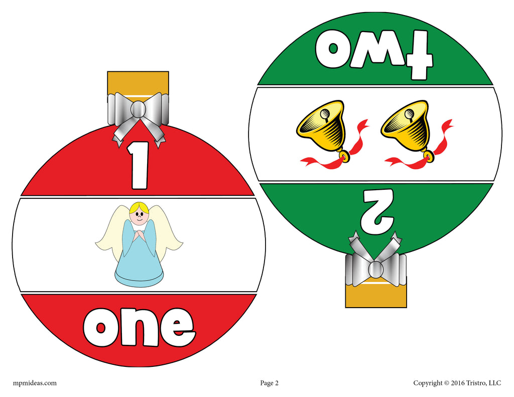 Christmas Ornaments Number Matching Game Numbers 1-10 - Page 1