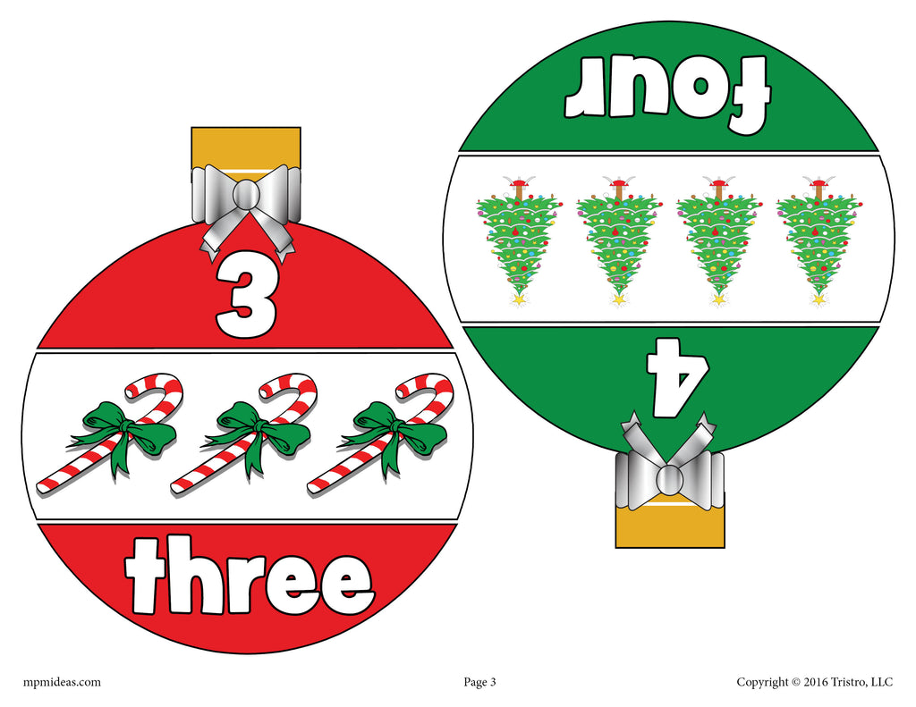 Christmas Ornaments Number Matching Game Numbers 1-10 - Page 2