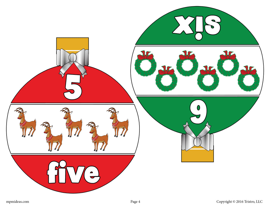 Christmas Ornaments Number Matching Game Numbers 1-10 - Page 3