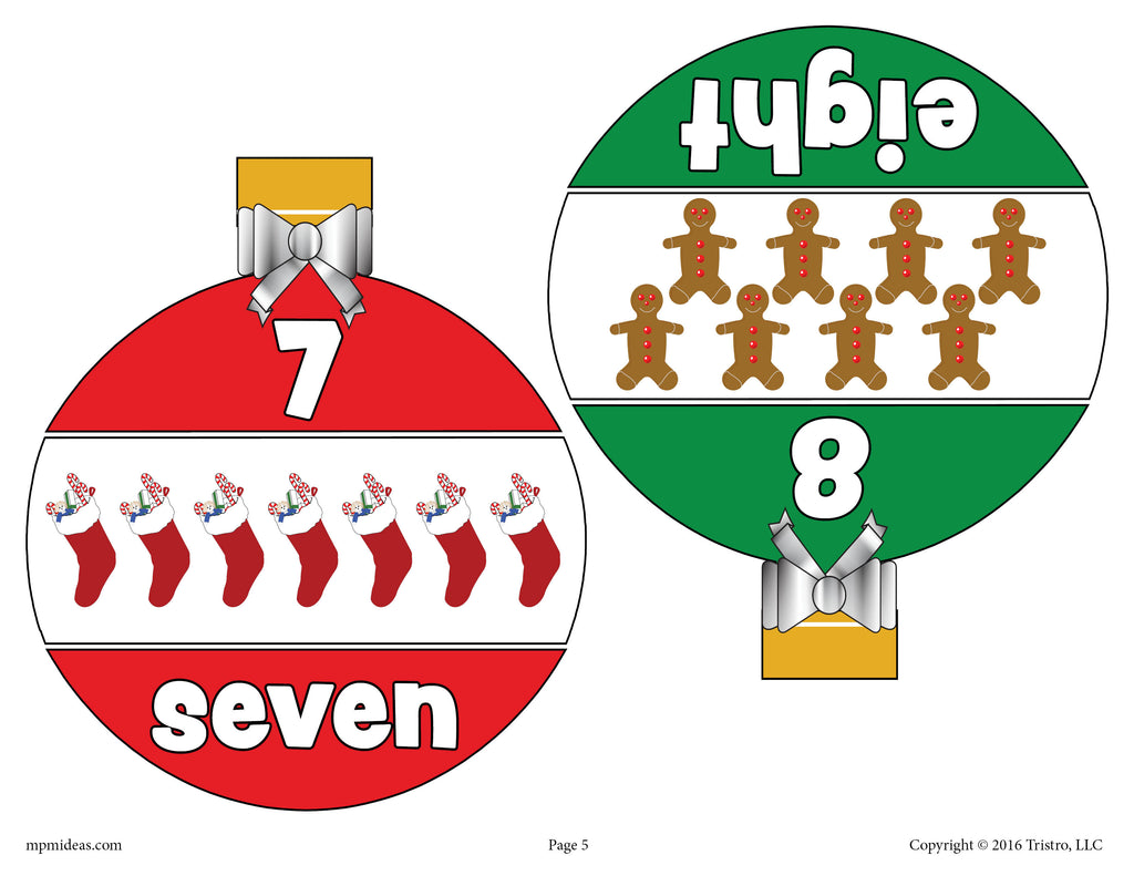 Christmas Ornaments Number Matching Game Numbers 1-10 - Page 4