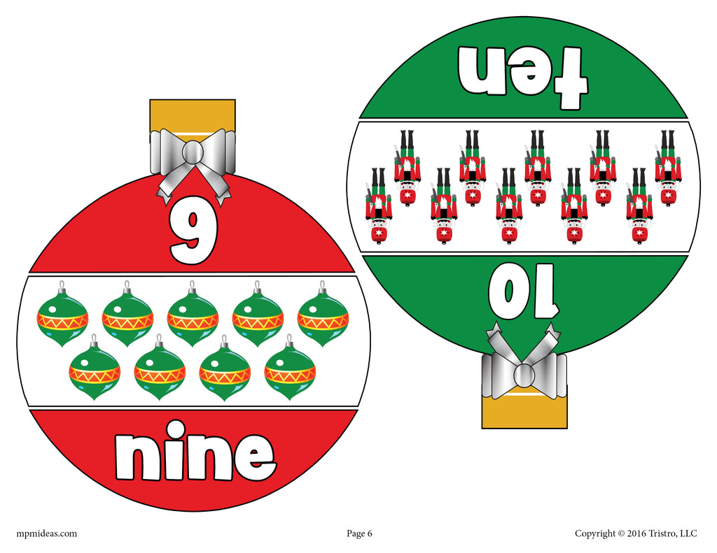 Christmas Ornaments Number Matching Game Numbers 1-10 - Page 5