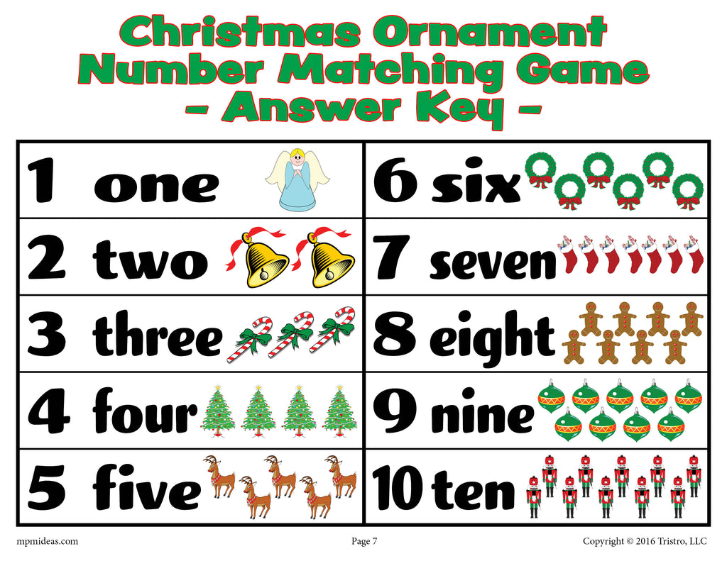 Christmas Ornaments Number Matching Game Numbers 1-10 - Answer Key