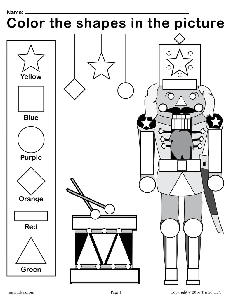 Printable Nutcracker Shapes Worksheet & Coloring Page!