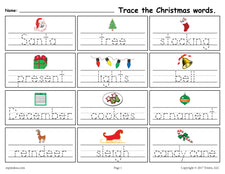 FREE Printable Christmas Words Handwriting & Tracing Worksheet!