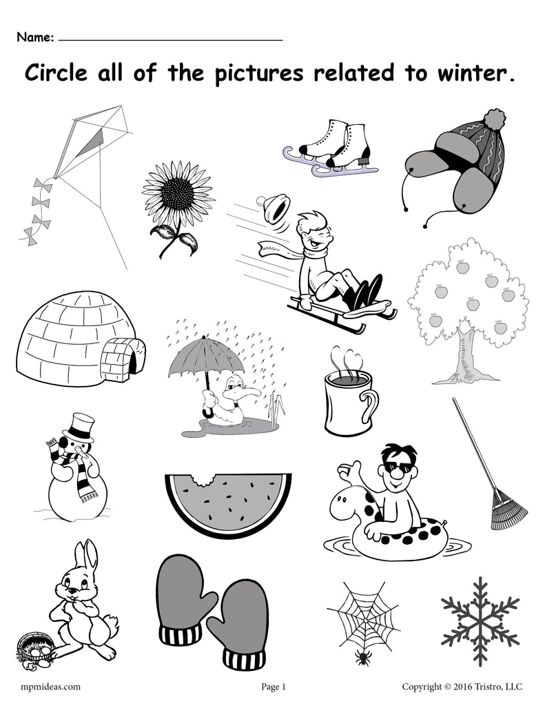 Spider Themed Circle Time Activity With Free Printables: FREE Printable Winter Worksheet