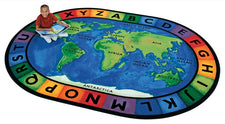 "Around the World Alphabet Circle Time Classroom Rug, 6'9"" x 9'5"" Oval"