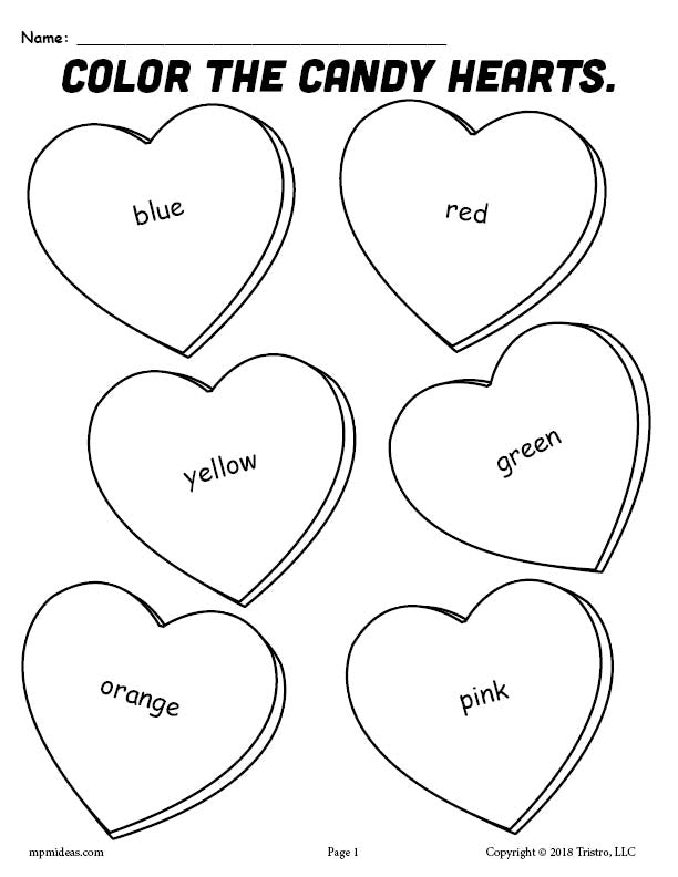 FREE Printable Candy Hearts Valentine's Day Coloring Page!