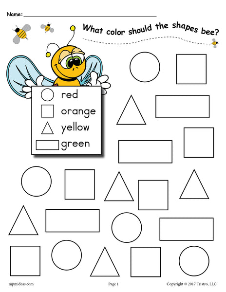 6 FREE Bee Themed Shapes Coloring Pages!