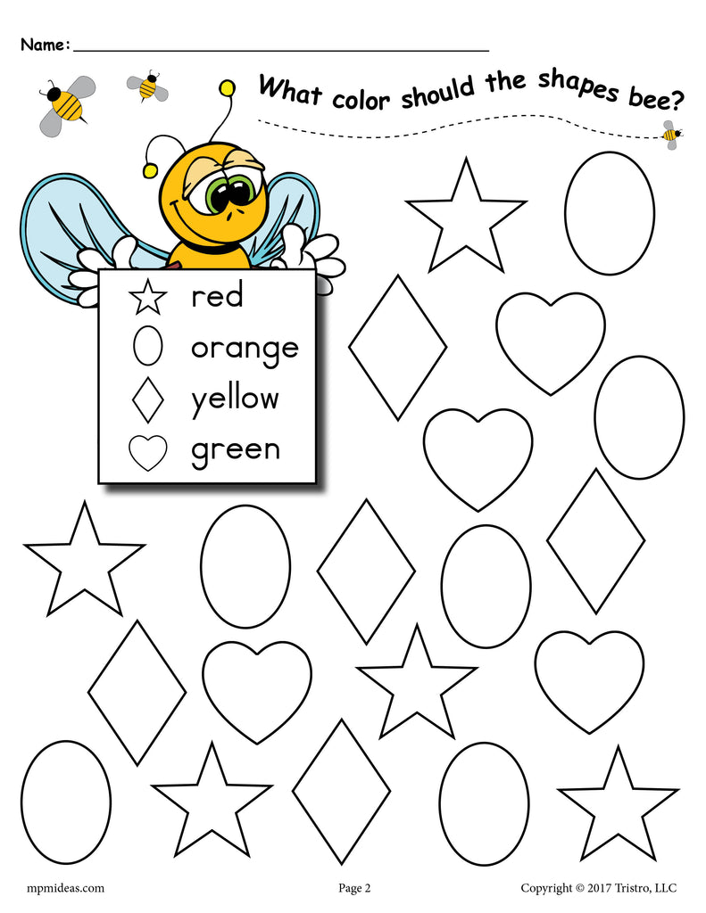 6 FREE Bee Themed Shapes Coloring Pages! – SupplyMe