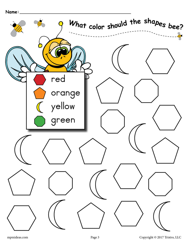 6 FREE Bee Themed Shapes Coloring