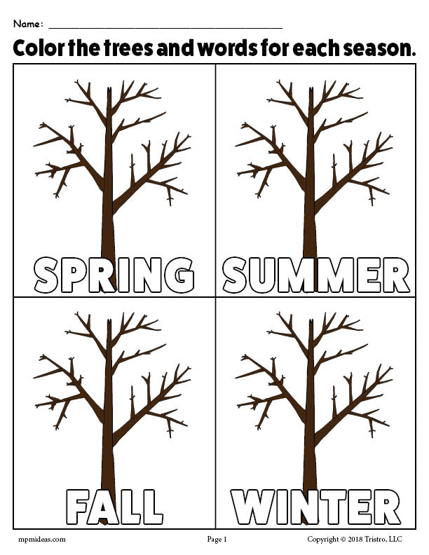 The 4 Seasons FREE Printable Coloring Page!