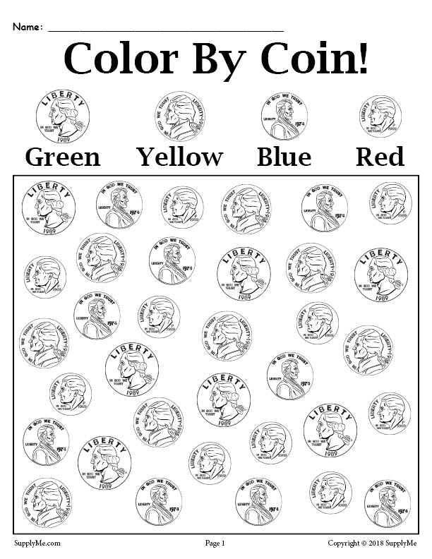 color by coin free printable money worksheet supplyme. Black Bedroom Furniture Sets. Home Design Ideas
