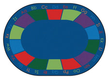 "Colorful Places Alphabet Classroom Circle Time Rug, 8'3"" x 11'8"" Oval"