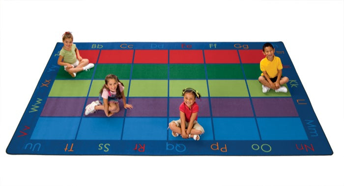"Colorful Places Alphabet Classroom Circle Time Rug, 8'4"" x 13'4"" Rectangle (seats 30)"