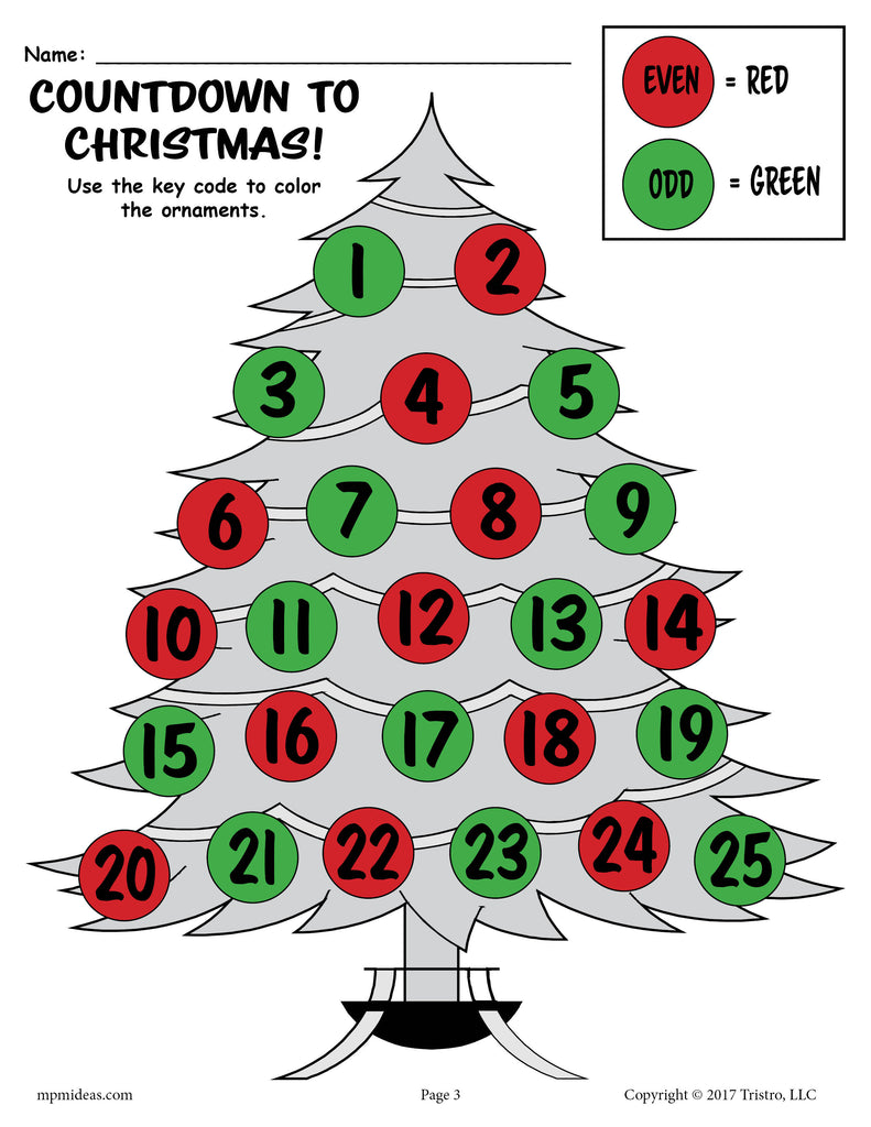 FREE Printable Countdown to Christmas