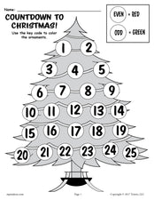 FREE Printable Countdown to Christmas Odd and Even Worksheets!