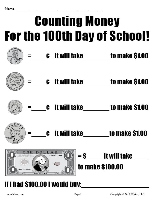 FREE Printable 100th Day of School Counting Money Worksheet ...