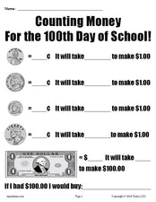FREE Printable 100th Day of School Counting Money Worksheet